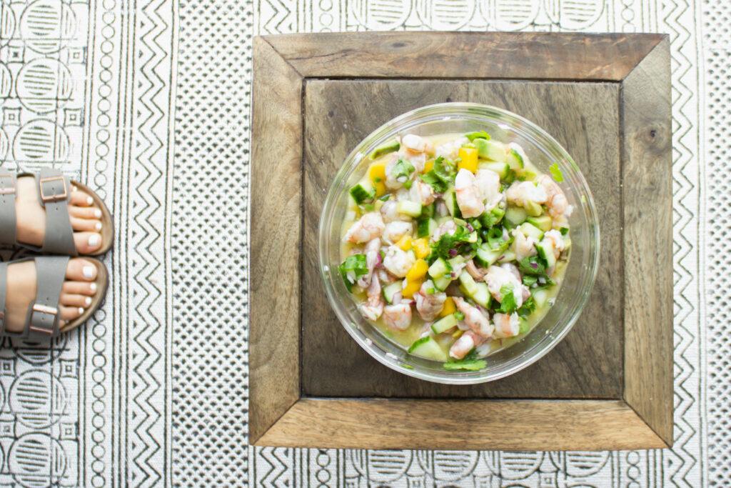 Bowl of Shrimp Ceviche.