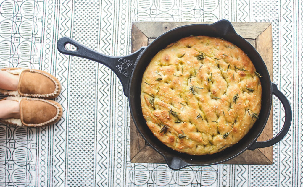 Baked Cast Iron Rosemary Focaccia in the skillet.