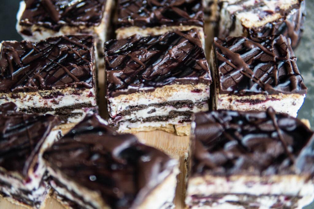 board of Cherry and chocolate icebox cake.