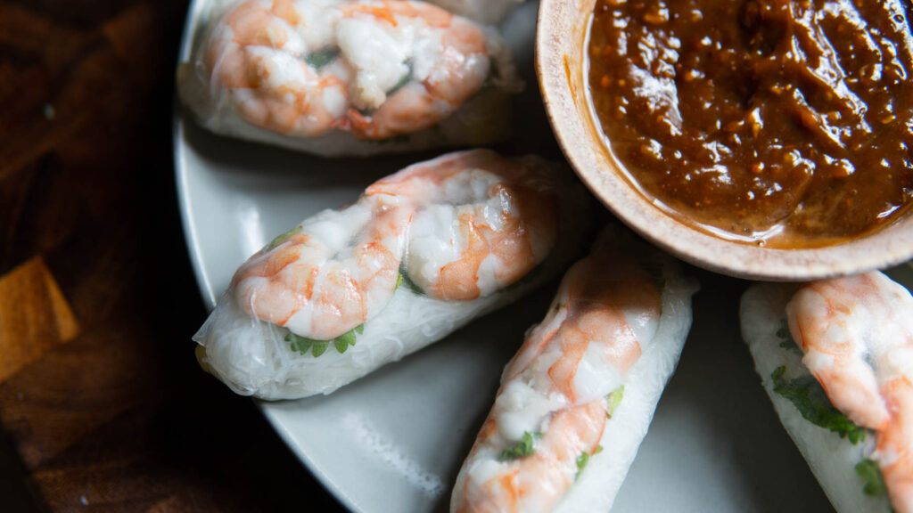 Plate of Shrimp Rolls & Peanut Sauce.