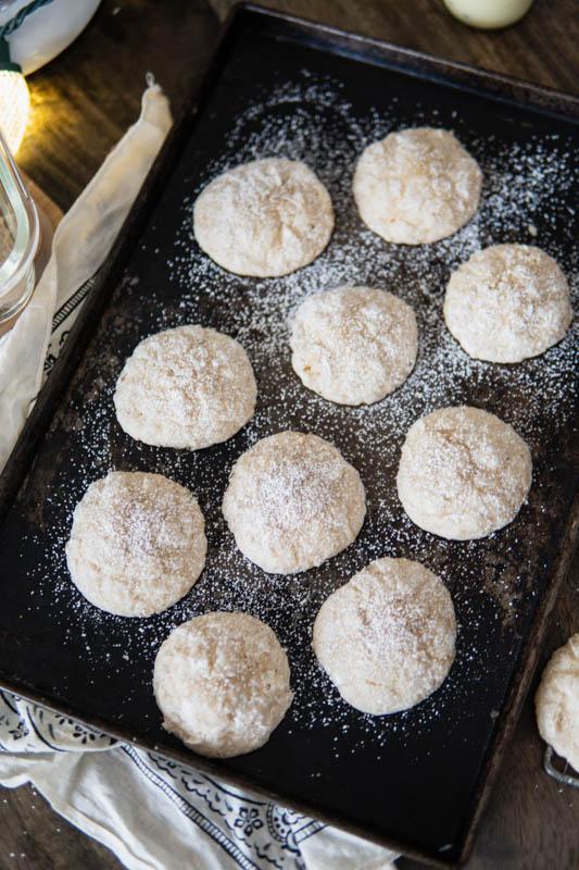 Baking sheet of Eggnog Gooey Butter Cookies.