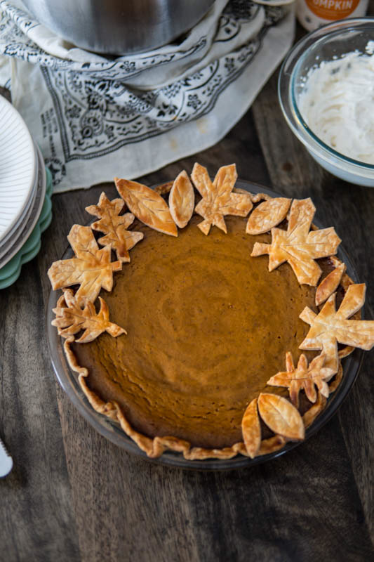 fulled baked Smoked Pumpkin Pie with Eggnog Whipped Cream.