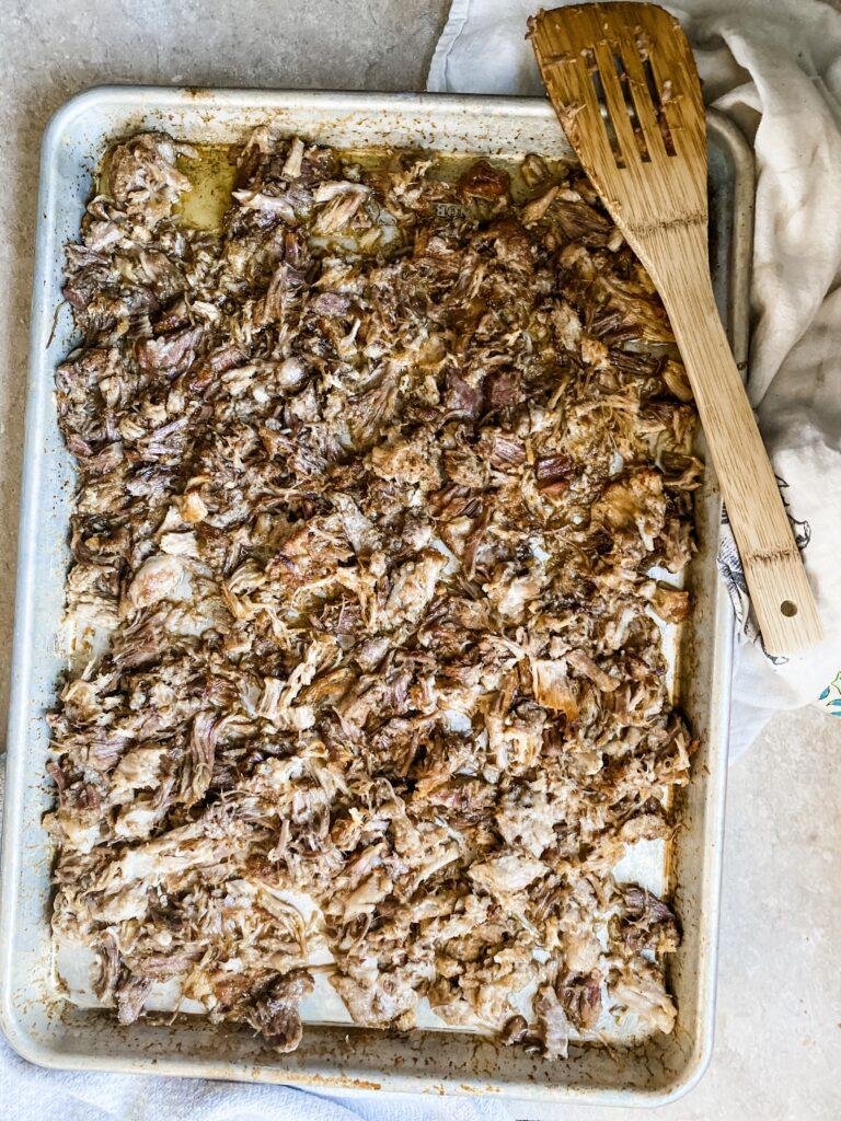 Baking sheet of Traeger Smoked Pulled Pork.