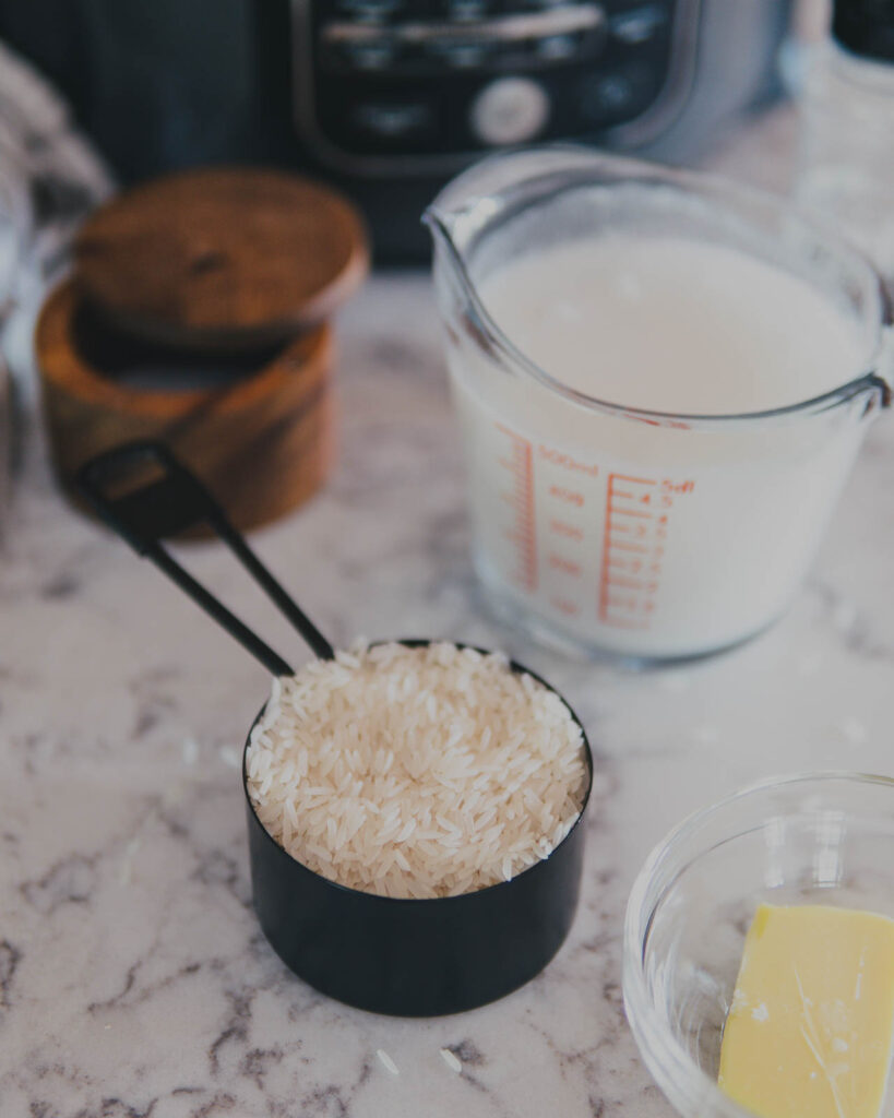 Rice in a measuring cup.