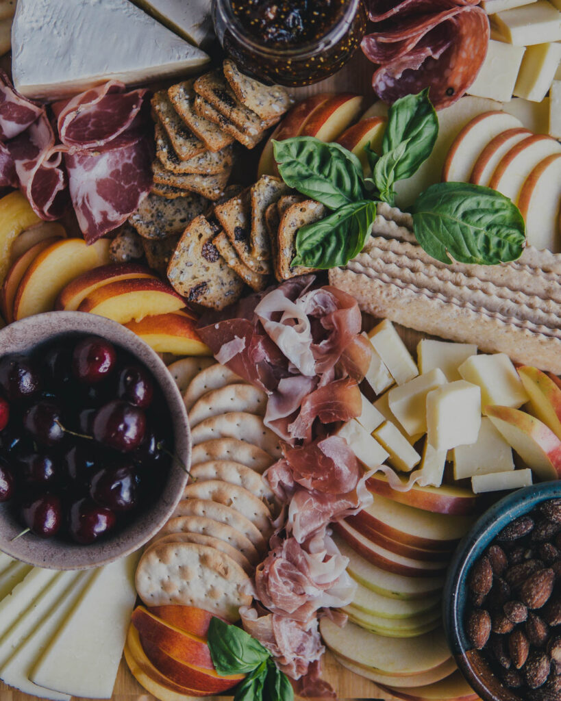 Close up on Summer Charcuterie Board Spread.