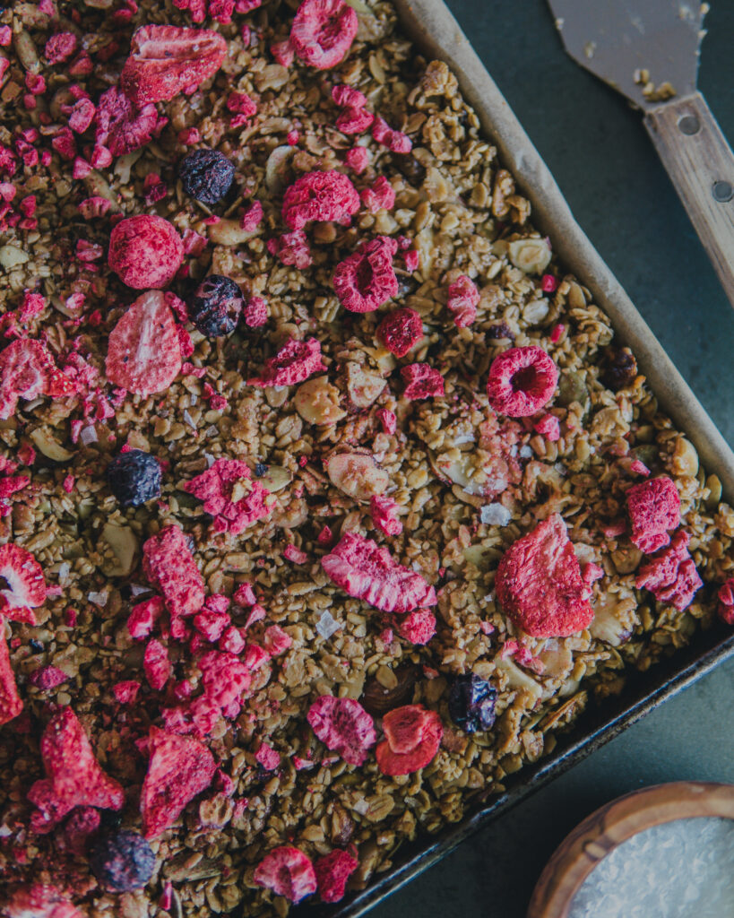 Another shot of the berry granola from overtop.