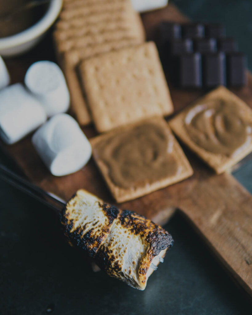 Overview of roasted marshmallow.