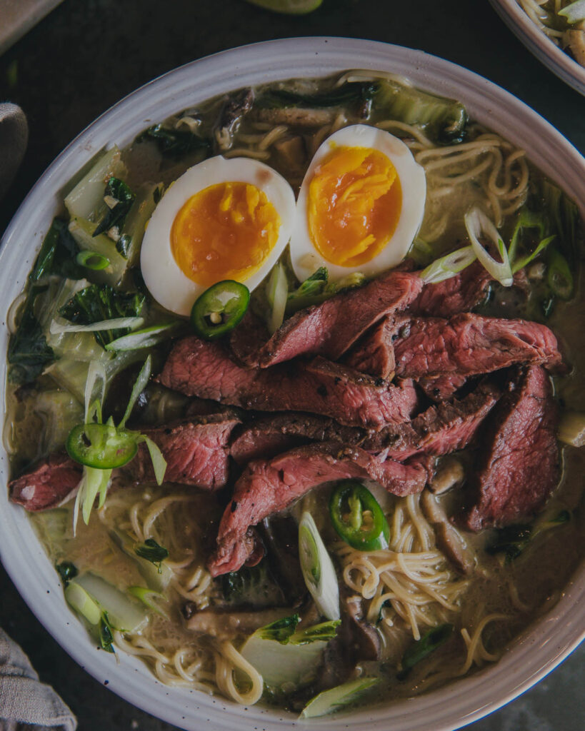 overview shot of the finished bowl of ramen.