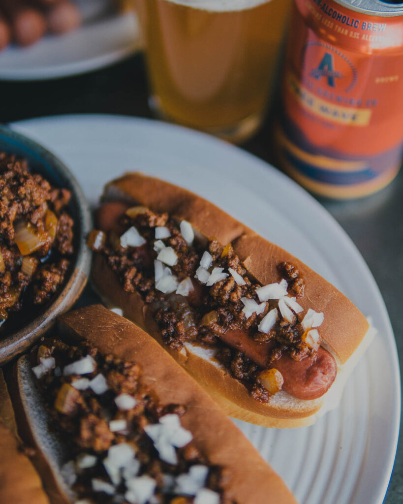 Athletic Brew Free Wave Chili Dogs on a plate.