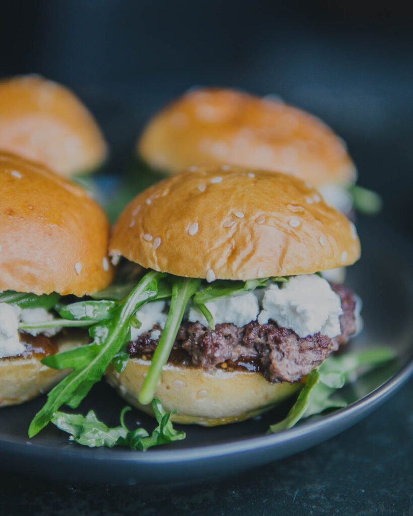 Close up on finished Fig & Goat Cheese Sliders.