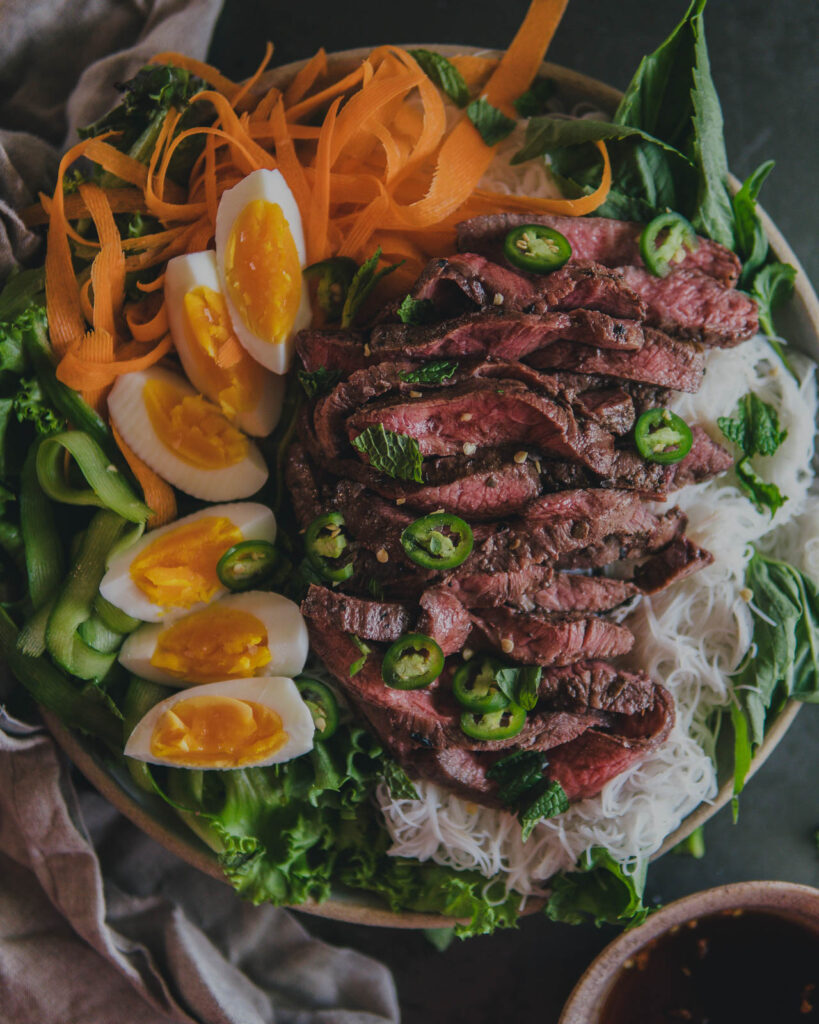 Rice Noodle Salad with Steak in a bowl.