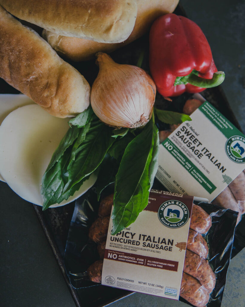 Ingredients for Italian sausage and provolone garlic bread subs.