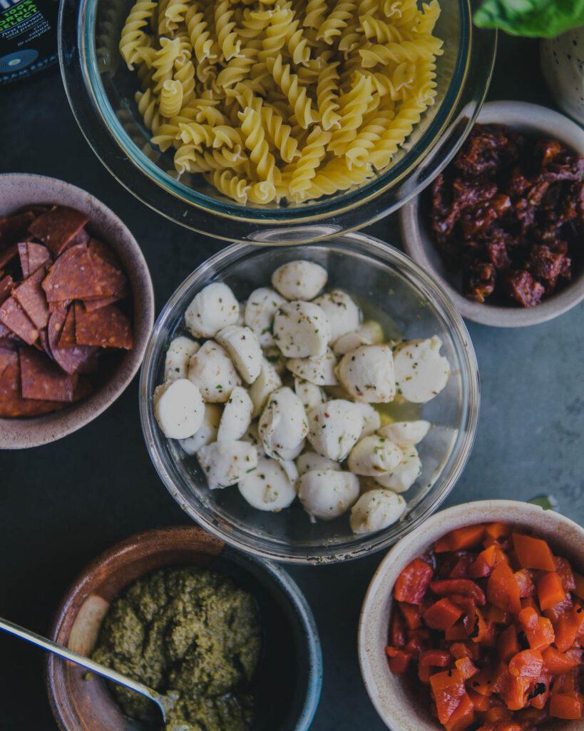 Ingredients for pepperoni & pesto pasta salad