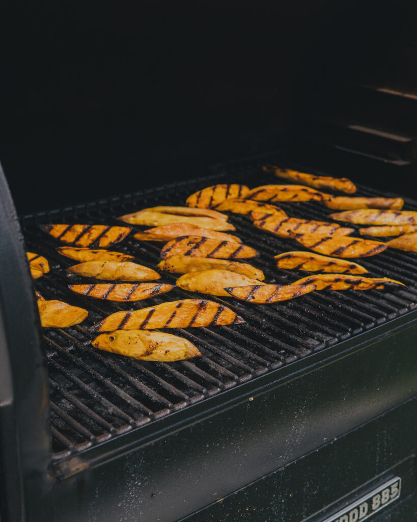 Sweet potato fries on the Traeger grill.