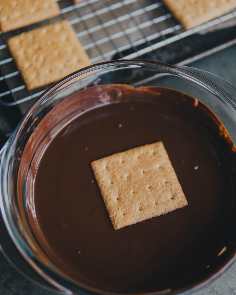 Graham cracker dipped in melted chocolate.