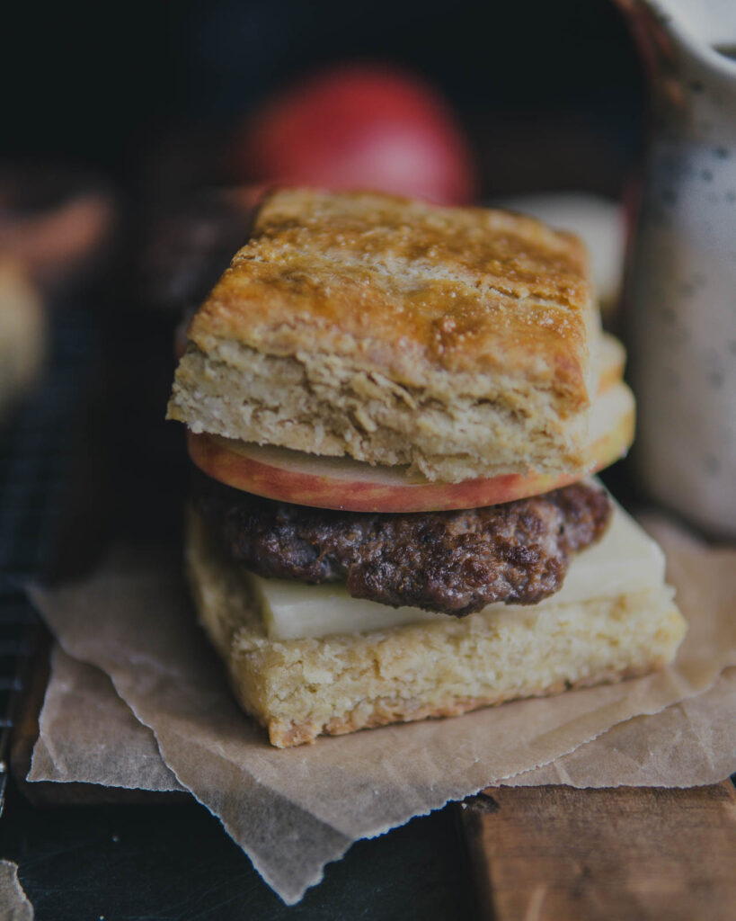 Closeup of The Vermonter breakfast sandwich on parchment paper.