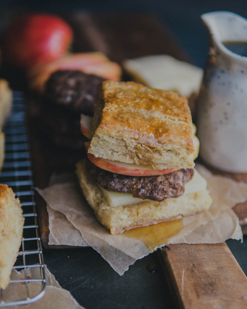 The Vermonter breakfast sandwich with apple, cheddar and sausage maple biscuits.